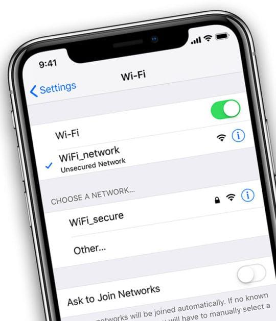 WiFi on iPad or iPhone Settings