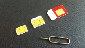 SIM card size comparison.