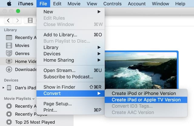 Convert to iPad or Apple TV version