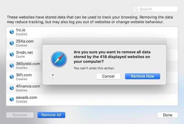 Remove Website Data from Safari