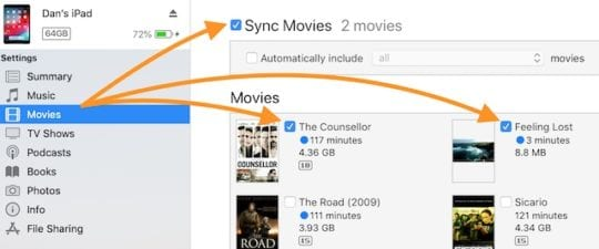 iPad movies and videos are missing after iTunes sync