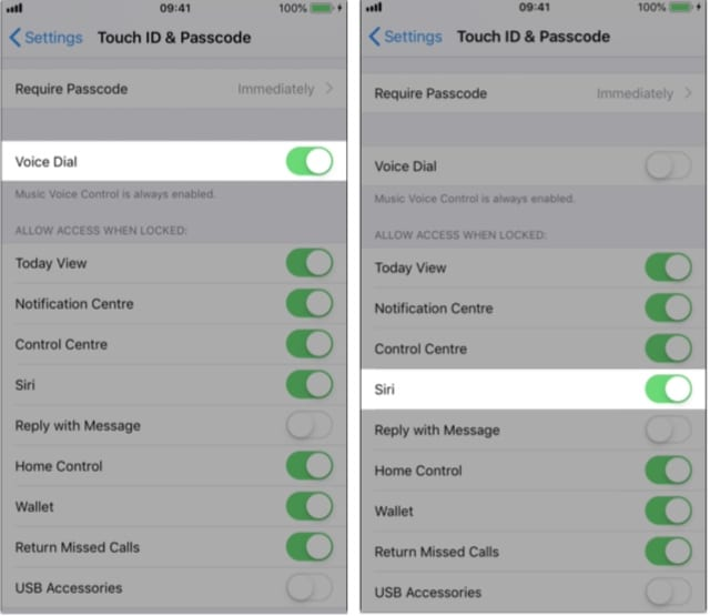 Voice Dial and Siri options in Touch ID or Face ID & Passcode settings.