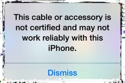 """This accessory is not optimized for this iPhone..."" with Nothing Connected"