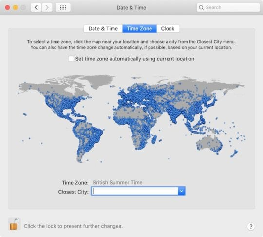 Time Zone selection in Mac System Preferences