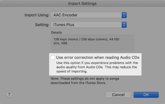 Use error correction when importing option in iTunes.
