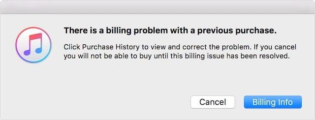 iTunes error message, billing problem