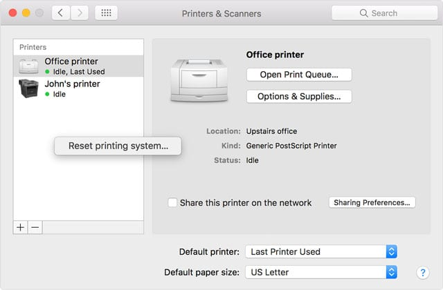 reset the printing system using a Mac