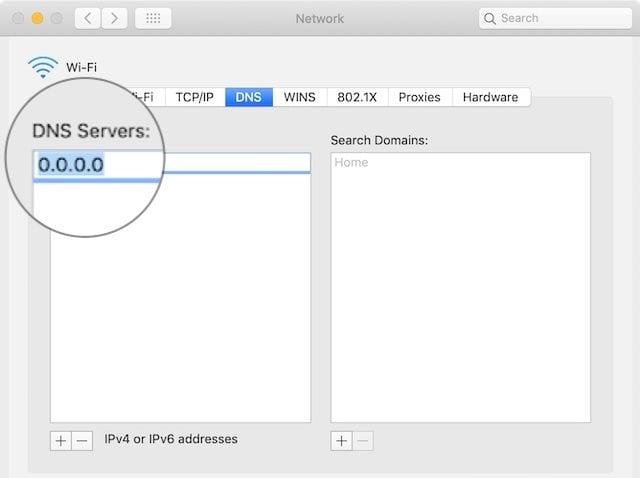 Add new DNS servers on a Mac