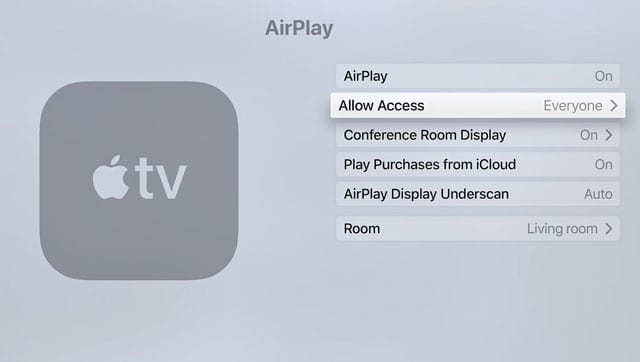 Apple TV Airplay allow access to everyone