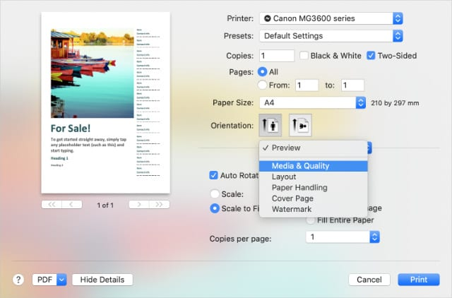 Advanced printing options in macOS