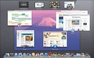 Preview of Mac OS X Lion in Mission Control view