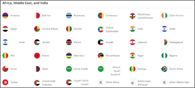 Other languages and regions on Apple's website