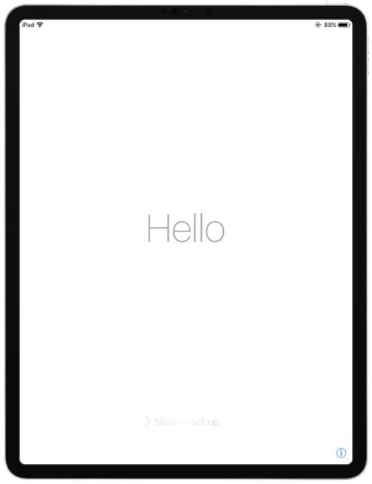 iPad Pro Hello Set Up Screen