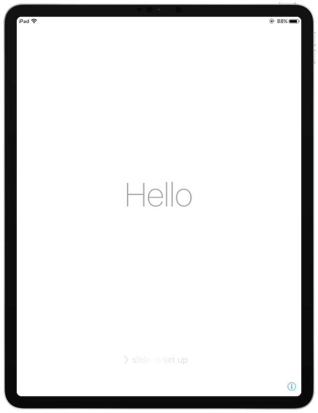 iPad Pro Hello Set Up Screen
