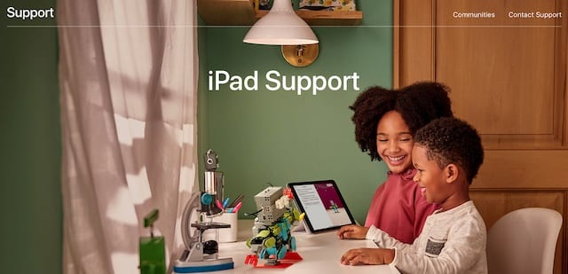 iPad Support page on Apple's website