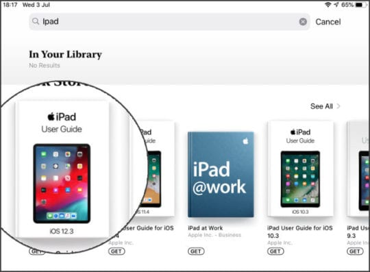 iPad User Guide iBooks search results2