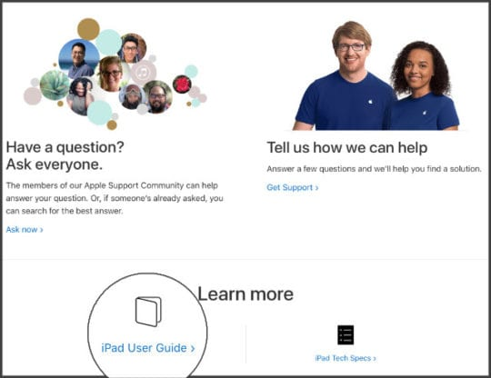 iPad User Guide link on Apple's website