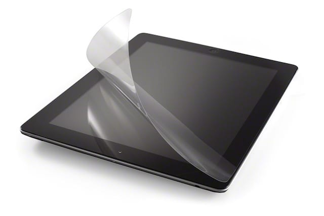 iPad screen protector being removed.