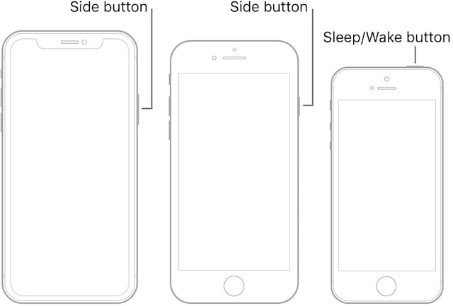 iPhone X, iPhone 8 Plus, and iPhone 6S power buttons.