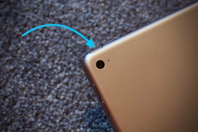 Power button on an iPad