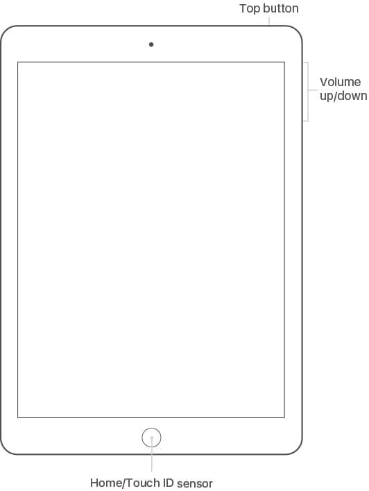 iPad Air 2 buttons diagram.