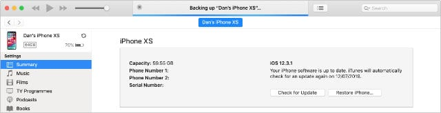 Backing up iPhone to iTunes