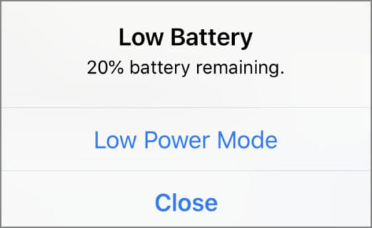 Low Battery alert with Low Power Mode