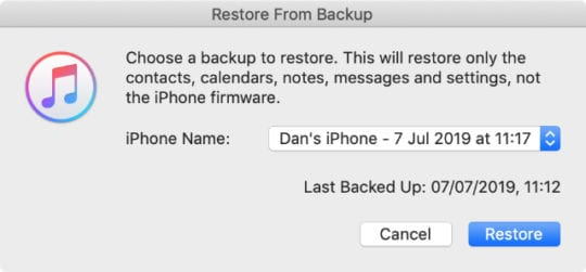 Restore from iTunes backup select iPhone backup