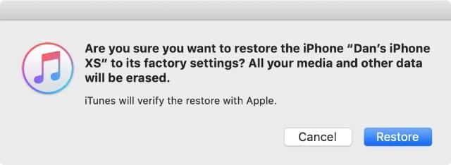 Restore iPhone pop-up alert in iTunes