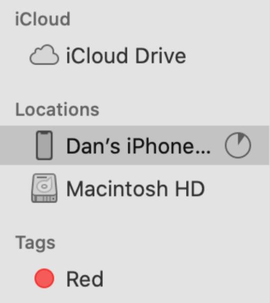 iPhone back up progress in Finder sidebar