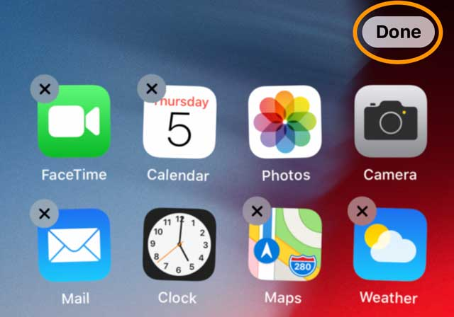 Done button when rearranging or deleting apps on home screen iPhone