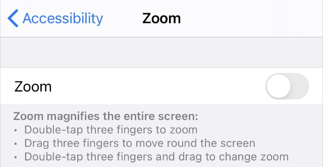 Zoom Accessibility settings on iPhone
