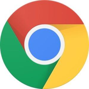 Google Chrome web browser logo.