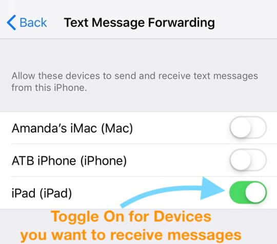 Settings for devices to send and receive text messages from iPhone