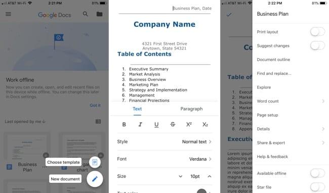 Google Docs on iPhone