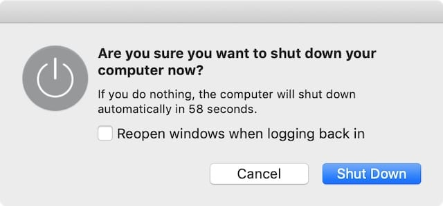 Shut down window on a Mac.