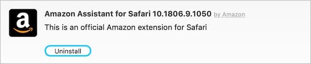 Option to uninstall Amazon extension from Safari.