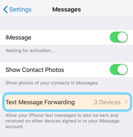 iPhone Message App Text Message Forwarding