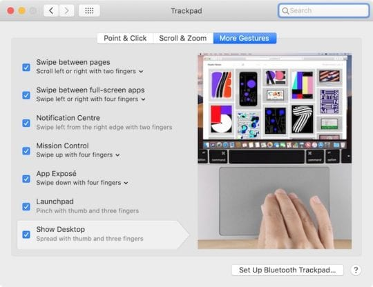 Trackpad gestures in System Preferences