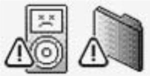 Unhappy iPod and Exclamation Point icons