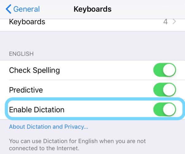 enable dictation in keyboard settings iOS iPhone