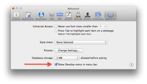Show Develop menu in menu bar