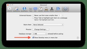 Show Develop menu in menu bar