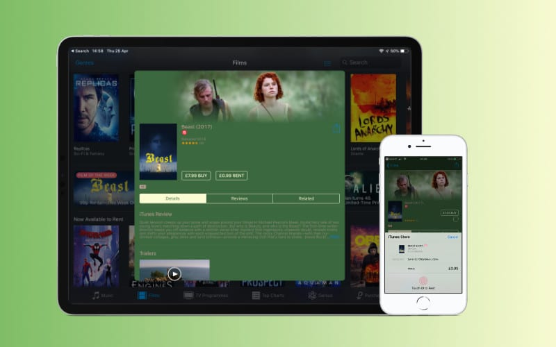 Can I rent movies on iTunes and watch them offline on my iPhone or iPad?