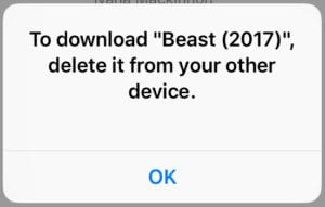Delete from your other device pop-up message.
