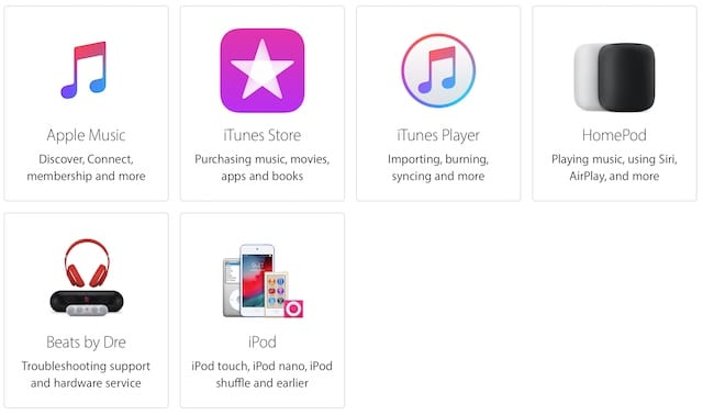 Apple Get Support music options.