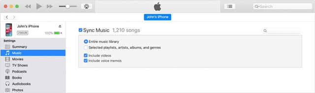 sync iPhones Music with iTunes