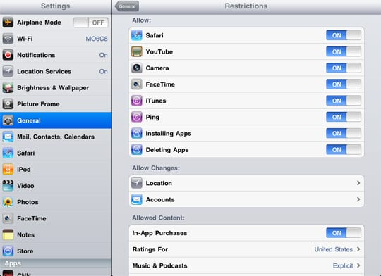iPad restrictions
