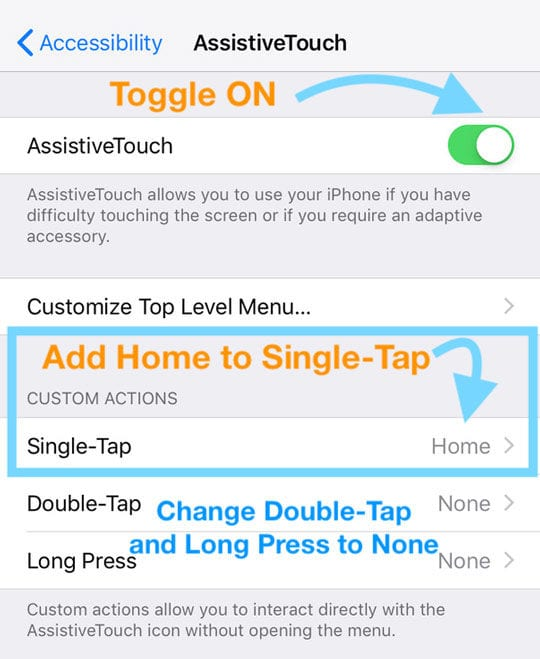 assistivetouch for home button on-screen replacement on iOS