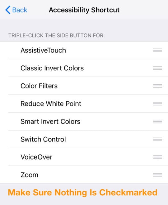 iOS accessibility Shortcut with nothing checked